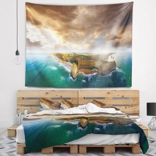 Designart 'Great Ocean Road Australia Blue' Seascape Wall Tapestry