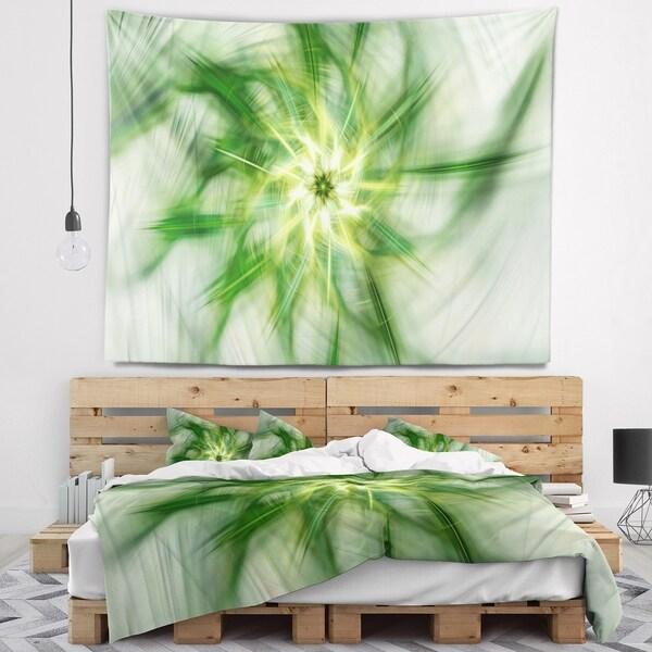 Designart 'Rotating Bright Green Flower' Abstract Wall Tapestry