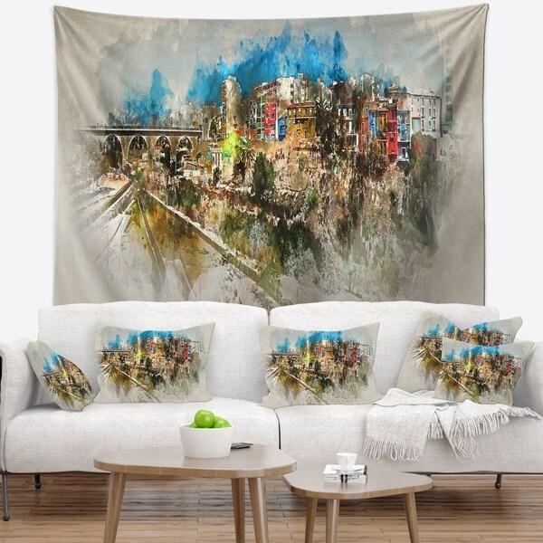 Designart 'Villajoyosa Town Watercolor' Cityscape Wall Tapestry
