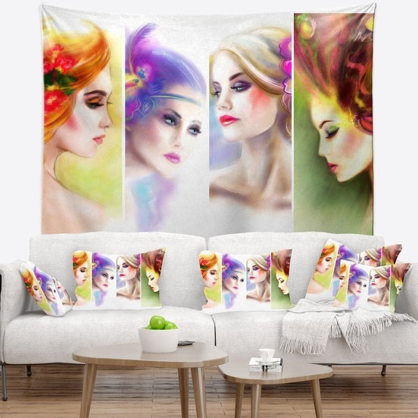 Designart 'Colorful Women Face Collage' Abstract Portrait Wall Tapestry