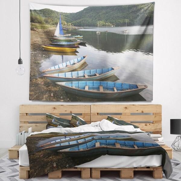 Designart 'Wonderful View of Pokhara Boats' Boat Wall Tapestry