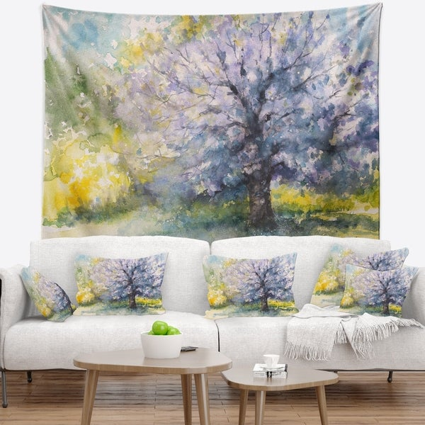 Designart 'Blooming Cherry Tree' Watercolor Floral Wall Tapestry