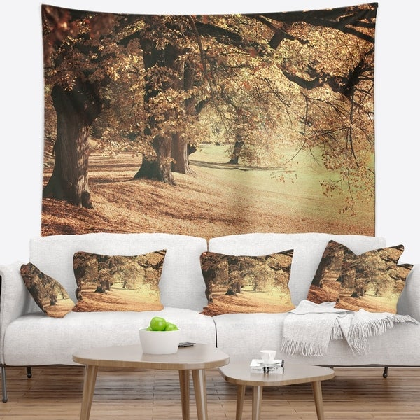 Designart 'Dreamy Imagery of Autumn Forest' Modern Forest Wall Tapestry