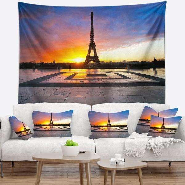Designart 'Paris Eiffel Towerat Beautiful Sunrise' Landscape Photography Wall Tapestry