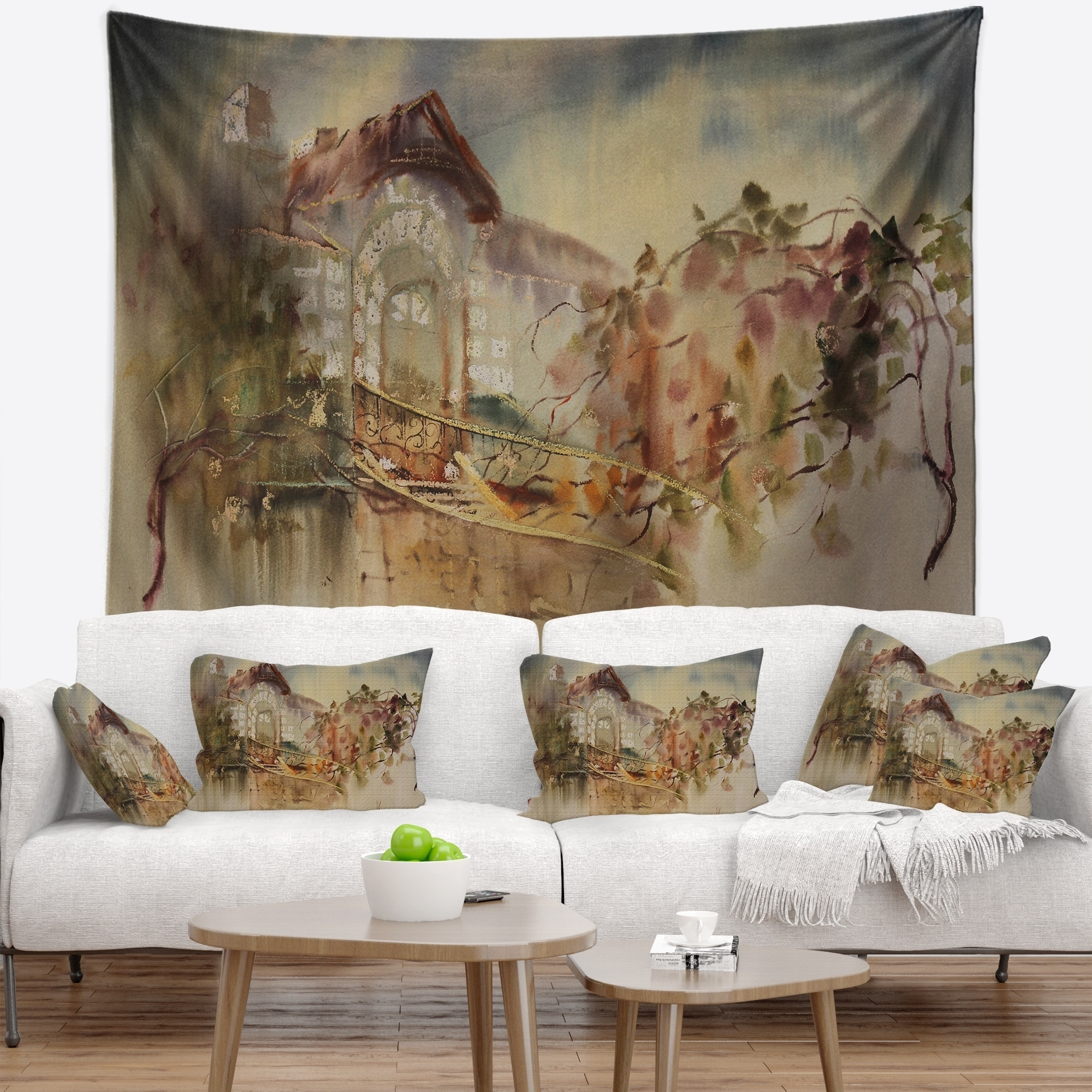 Designart Abstract Old Building Watercolor Abstract Wall Tapestry On Sale Overstock 20926908