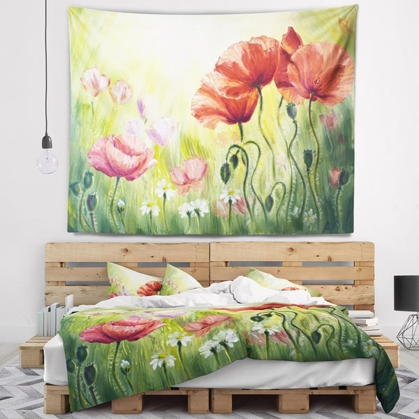 Designart 'Poppies in Morning' Floral Wall Tapestry