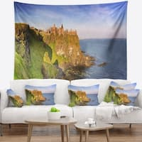 Designart 'Dunluce Castle in Northern Ireland' Seascape Wall Tapestry