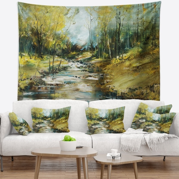 Designart 'Creek in the Forest Oil Painting' Landscape Painting Wall Tapestry