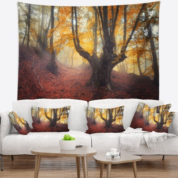 Designart 'Dark Old Yellow Forest' Landscape Photography Wall Tapestry