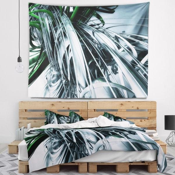 Designart '3D Abstract Art Green Black' Abstract Wall Tapestry