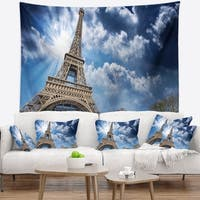 Designart 'Eiffel Under Blue Sky' Skyline Photography Wall Tapestry