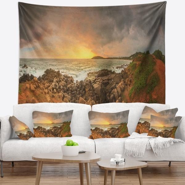 Designart 'Sunrise at Romantic Beach at Sri Lanka' Landscape Wall Tapestry