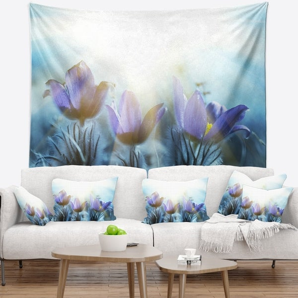 Designart 'Blooming Blue Spring Flowers' Floral Wall Tapestry