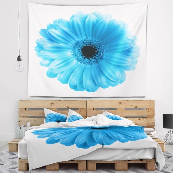 Designart 'Isolated Blue Flower' Floral Wall Tapestry