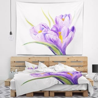 Designart 'Crocuses in White Background' Floral Wall Tapestry