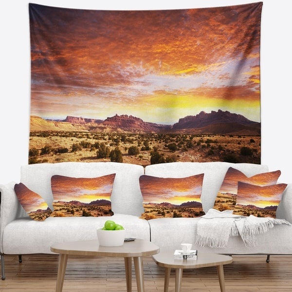 Designart 'Land with Thick Clouds At Sunset' African Landscape Wall Tapestry