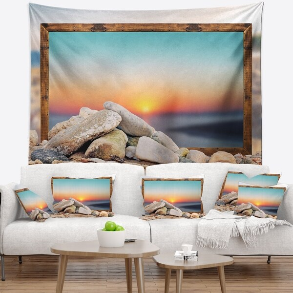 Designart 'Framed Effect Blurred Beach' Seashore Wall Tapestry