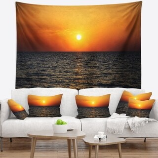 Designart 'Sunset Panorama under Sea Surface' Modern Seashore Wall Tapestry