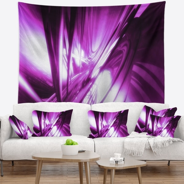 Designart '3D Abstract Art Purple Fractal' Abstract Wall Tapestry