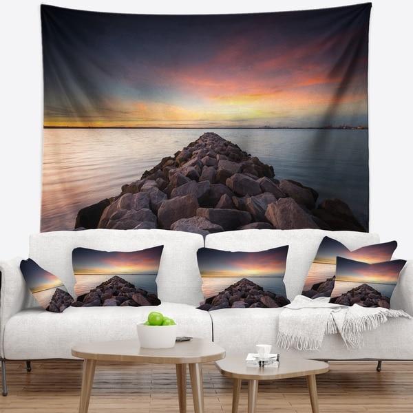 Designart 'Long Stone Bridge into Beautiful Sea' Seashore Wall Tapestry
