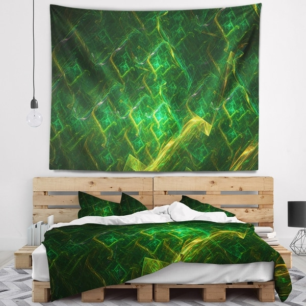 Designart 'Green Fractal Electric Lightning' Abstract Wall Tapestry