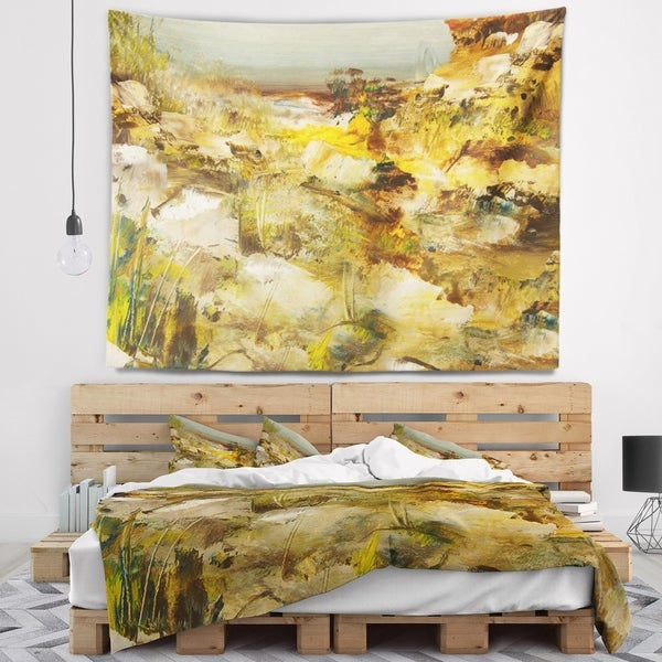 Designart 'Yellow Stones Heavily Textured' Landscape Painting Wall Tapestry