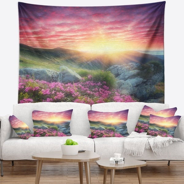 Designart 'Morning with Flowers in Mountains' Landscape Photography Wall Tapestry
