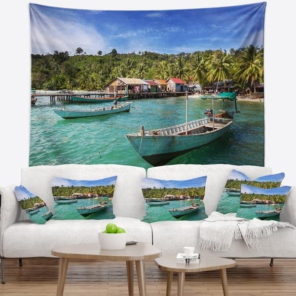 Designart 'Fishing Boats in Kep Cambodia' Seashore Wall Tapestry