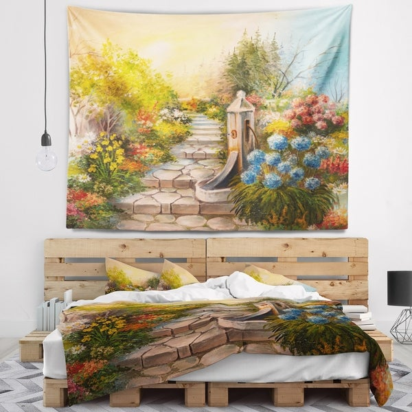 Designart 'Stone Stairs in Forest' Landscape Painting Wall Tapestry