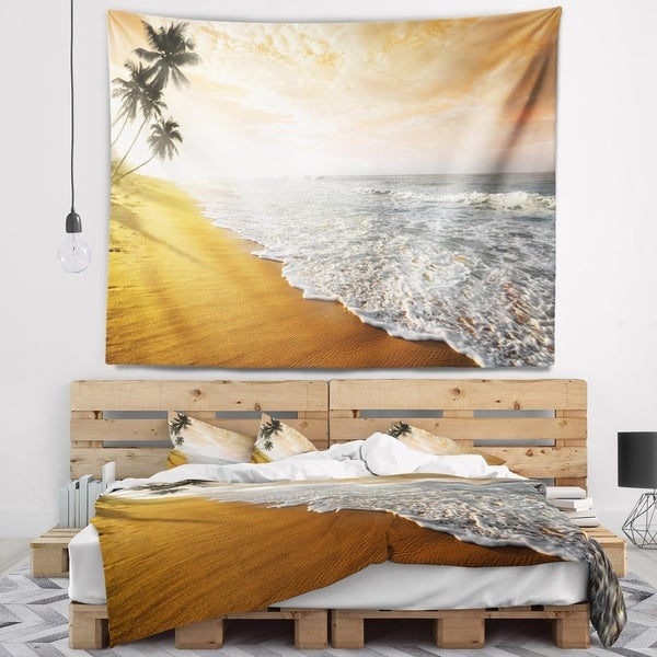 Designart 'Wavy Clouds over Seashore' Seascape Wall Tapestry