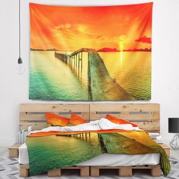Designart 'Fabulous Sunset Panorama' Photography Seascape Wall Tapestry