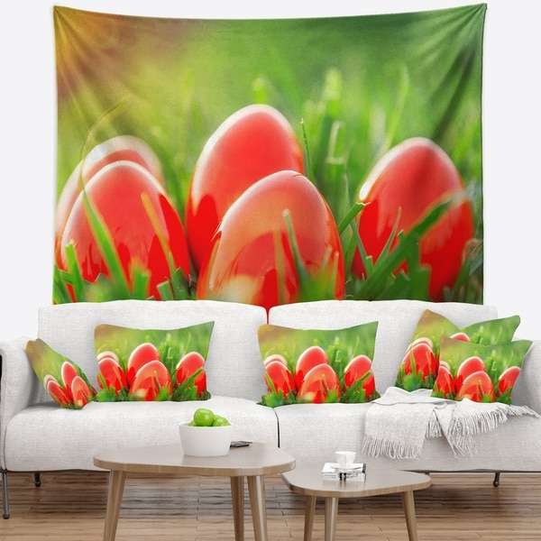 Designart 'Red Easter Eggs in Green Grass' Landscape Photography Wall Tapestry