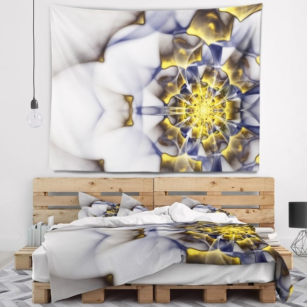 Designart 'Unique Gold and White Fractal Flower' Floral Wall Tapestry