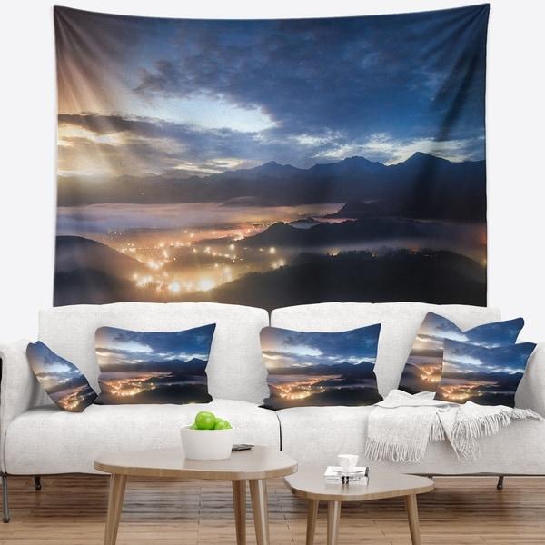 Designart 'Blue Cloudy Summer Sunrise' Landscape Photo Wall Tapestry