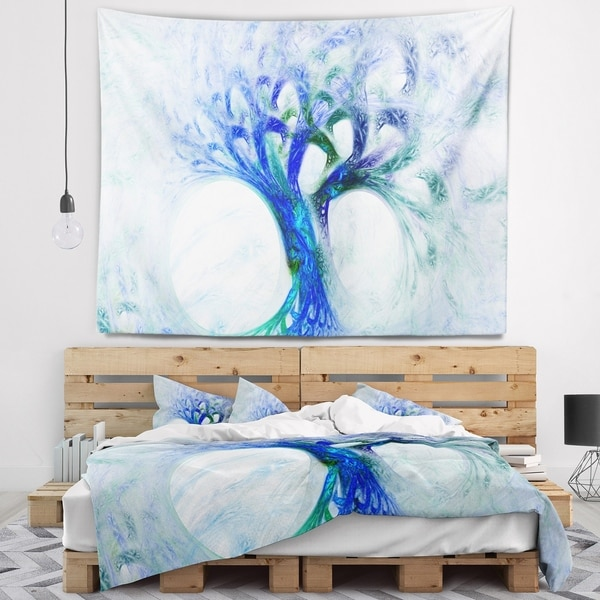 Designart 'Blue Mystic Psychedelic Tree' Abstract Wall Tapestry
