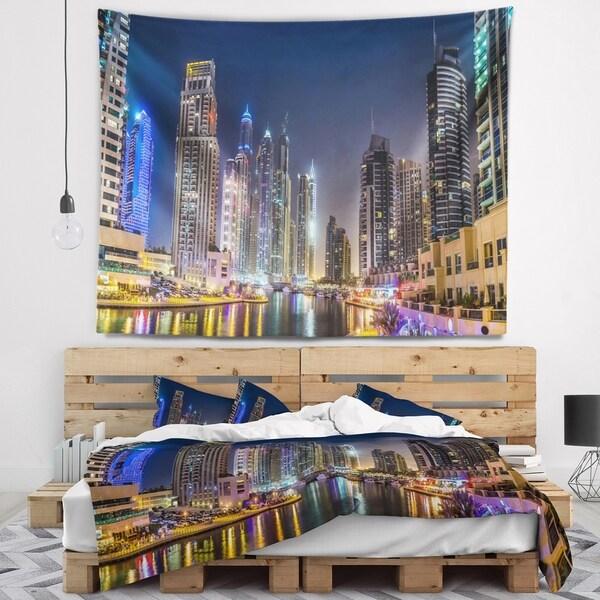 Designart 'Dubai Downtown in Summer Night' Cityscape Photo Wall Tapestry