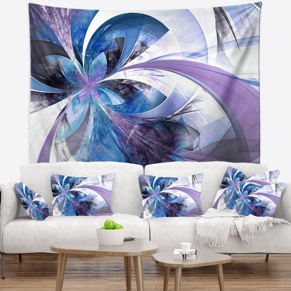 Designart 'Symmetrical Fractal Flower in Blue' Floral Wall Tapestry