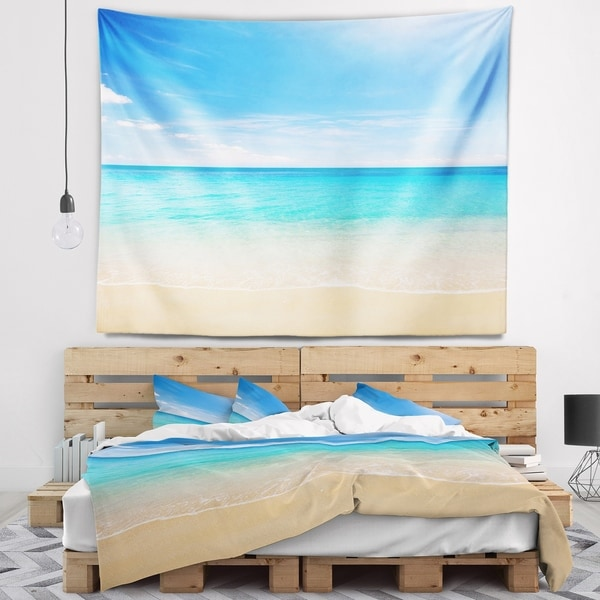 Designart 'Bright Blue Tropical Beach' Seashore Photo Wall Tapestry
