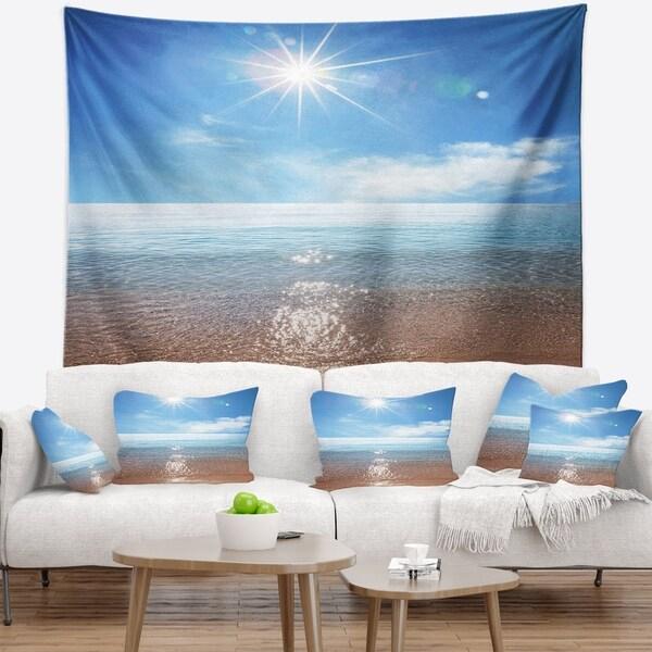 Designart 'Serene Seascape with Bright Sun' Modern Beach Wall Tapestry