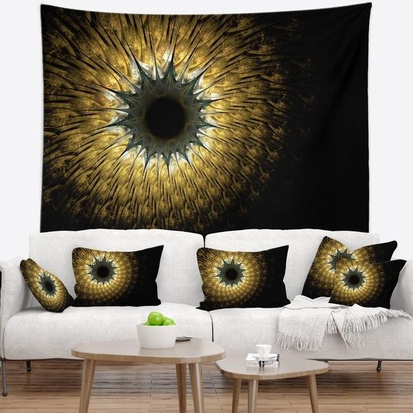 Designart 'Symmetrical Gold Digital Fractal Flower' Floral Wall Tapestry