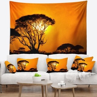 Designart 'Beautiful African Sunset in Savannah' African Landscape Wall Tapestry (2 options available)