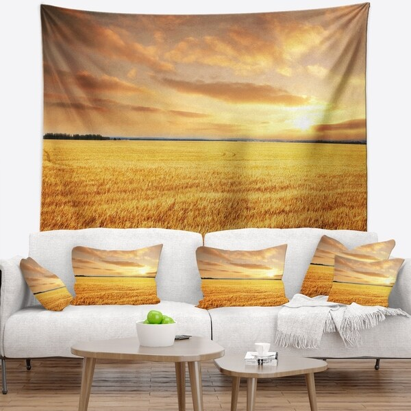 Designart 'Large Field under Cloudy Sky' Landscape Wall Tapestry