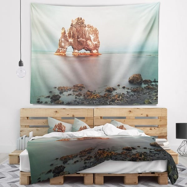 Designart 'Rock Sea Symbol in Iceland' Seashore Wall Tapestry