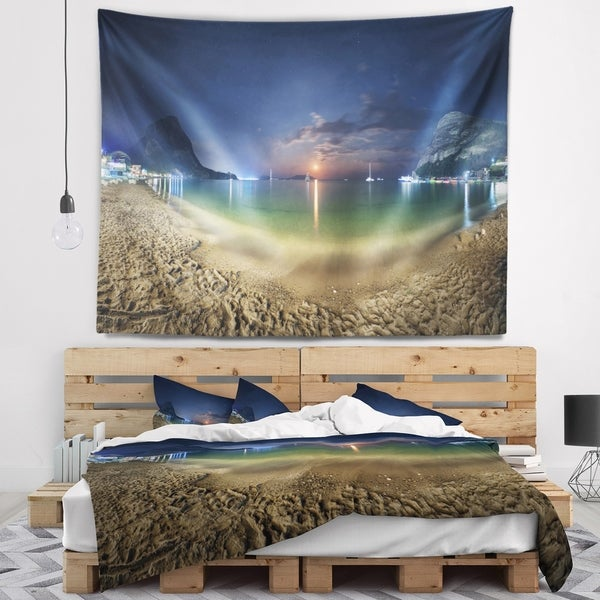 Designart 'Beach with Lunar Path' Seashore Photography Wall Tapestry