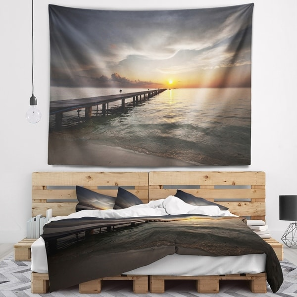 Designart 'Long Boardwalk into the Sunset Sea' Bridge Wall Tapestry