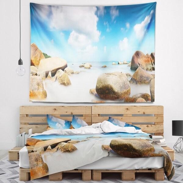Designart 'Rocky Blue Seashore Panorama' Landscape Wall Tapestry