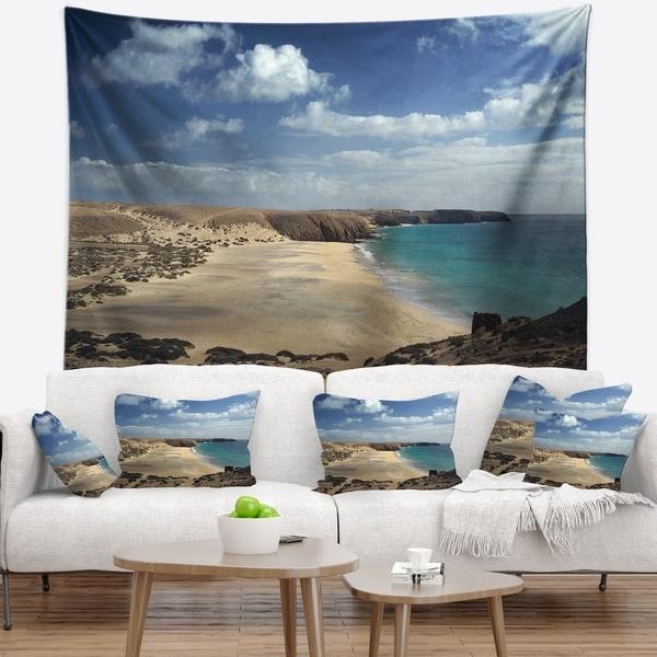Designart 'Bright Seashore with Blue Waters' Seashore Wall Tapestry
