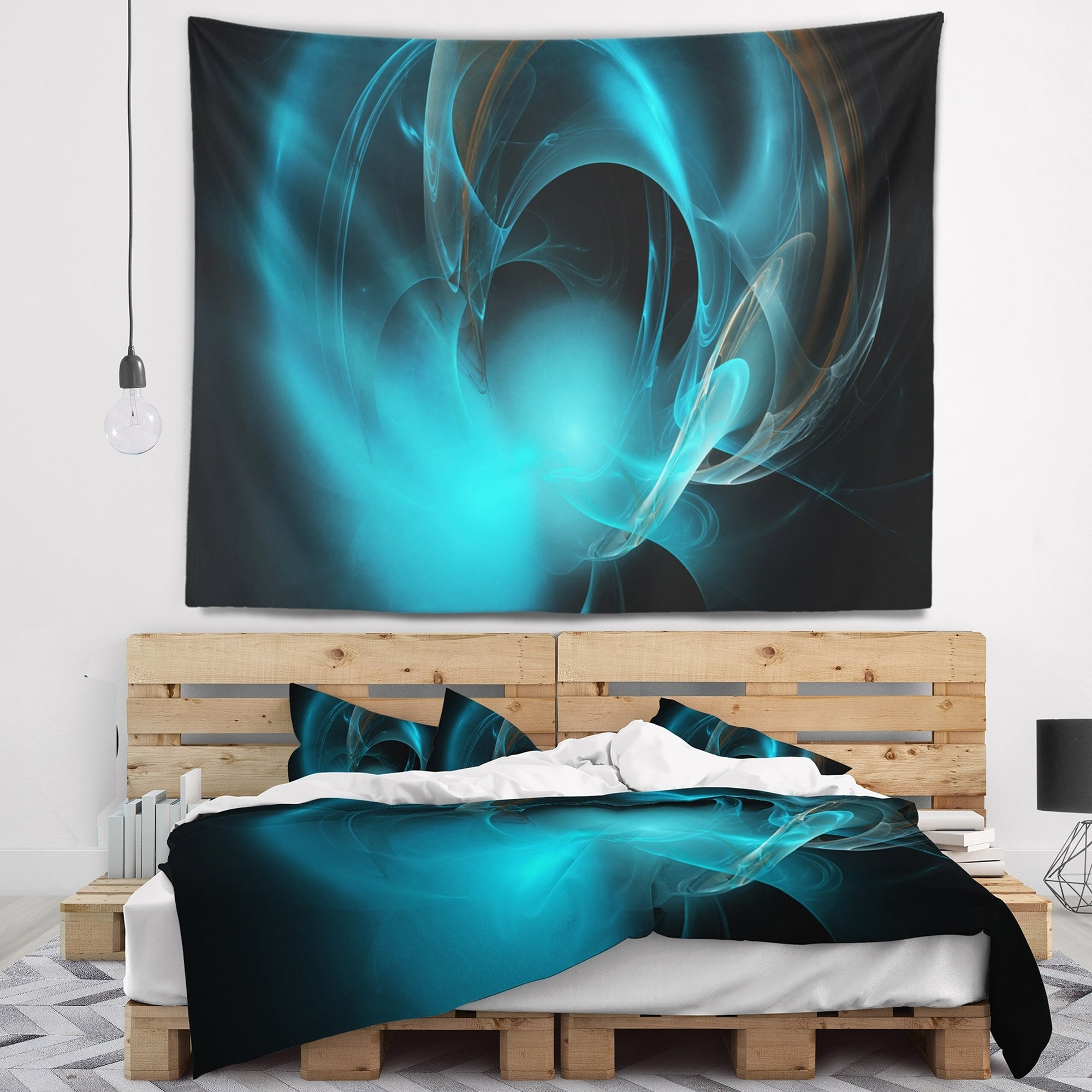 Sofa Throw Pillow 20 Insert Printed On Both Side Designart CU16283-20-20-C Blue Fractal Galactic Nebula Abstract Round Cushion Cover for Living Room