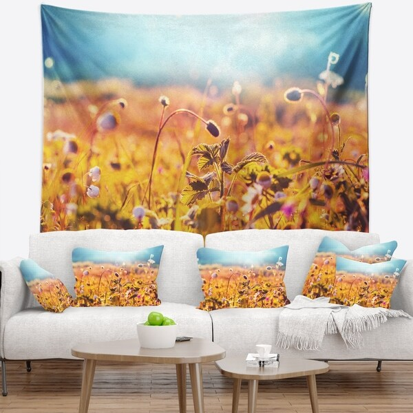 Designart 'Summer Field with Beautiful Flowers' Floral Wall Tapestry