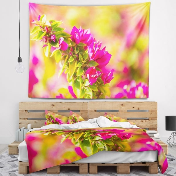 Designart 'Beautiful Pink Bougainvillea Flowers' Floral Wall Tapestry